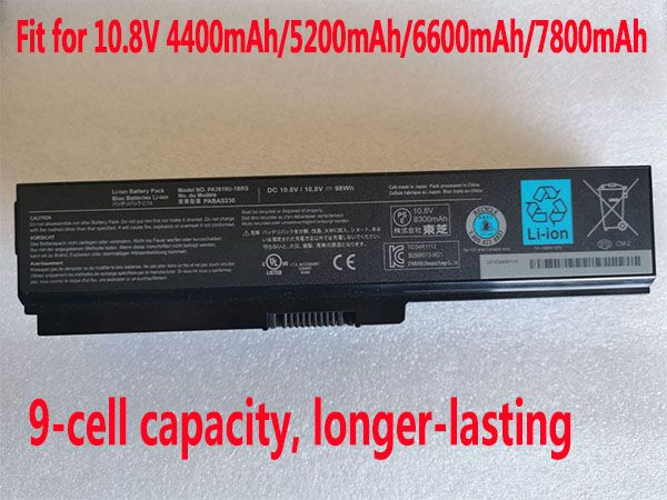 Toshiba PA3819U-1BRS 8300mAh 98Wh 9cell 10.8V laptop battery for Toshiba A665 C655 C675 L65